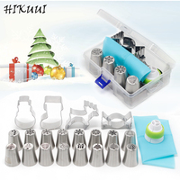 HIKUUI 20PCS Christmas Style Pastry Nozzle Cookie Mold Set Santa Claus Christmas Tree Snow Piping Tips