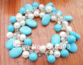 WOW!!! White Pearl&Turquoise&Crystal Bracelet