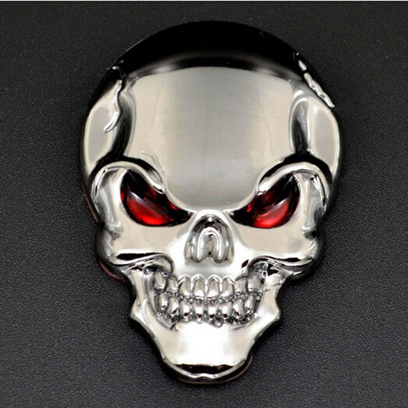 Ny Hot Cool Car Motorcykel 3D Skull Bone Sticker Metal Emblem Badge Dekaler Stickers med Røde Øj 50mm * 35mm