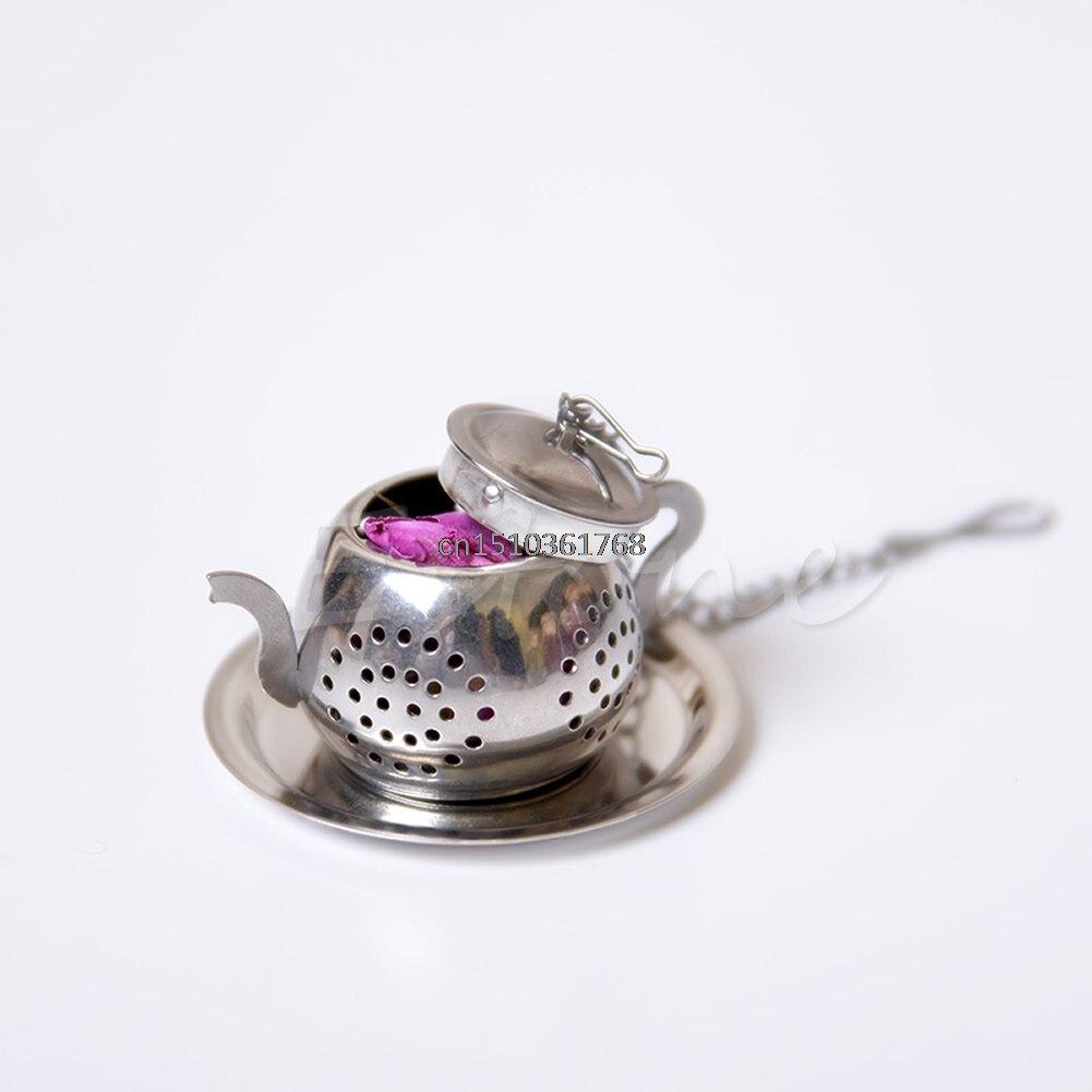 Stainless Steel Loose Teapot Tea Leaf Infuser Tray Spice Strainer Herbal Filter #Y05# #C05# 100pcs lotus leaf puerh tea natural herbal tea bag free shipping cp101h19