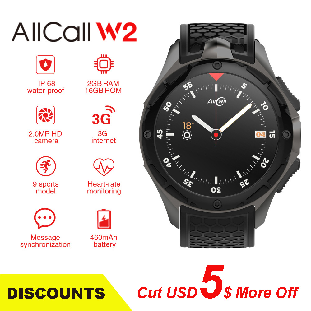 AllCall W2 3G WCDMA Android 7.0 Quad Core Smart Uhr 1,39 ''HD Screen 2G 16G Speicher GPS wifi Herz Rate Bluetooth 4,0 Uhren.