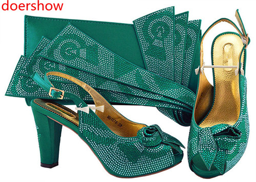 doershow fashion style 2018 new coming Italian matching shoe and bag set african wedding teal shoe and bag sets for women!SH1-38 doershow african shoe and bag matching set african wedding shoe and bag sets women shoe and bag to match for parties puw1 20
