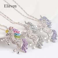 Elitven 12pc/lot Unicorn Colorful Rainbow CZ Pendant Necklace for Women Girls Korean Jewelry Birthday Gifts 3 Colors Mix