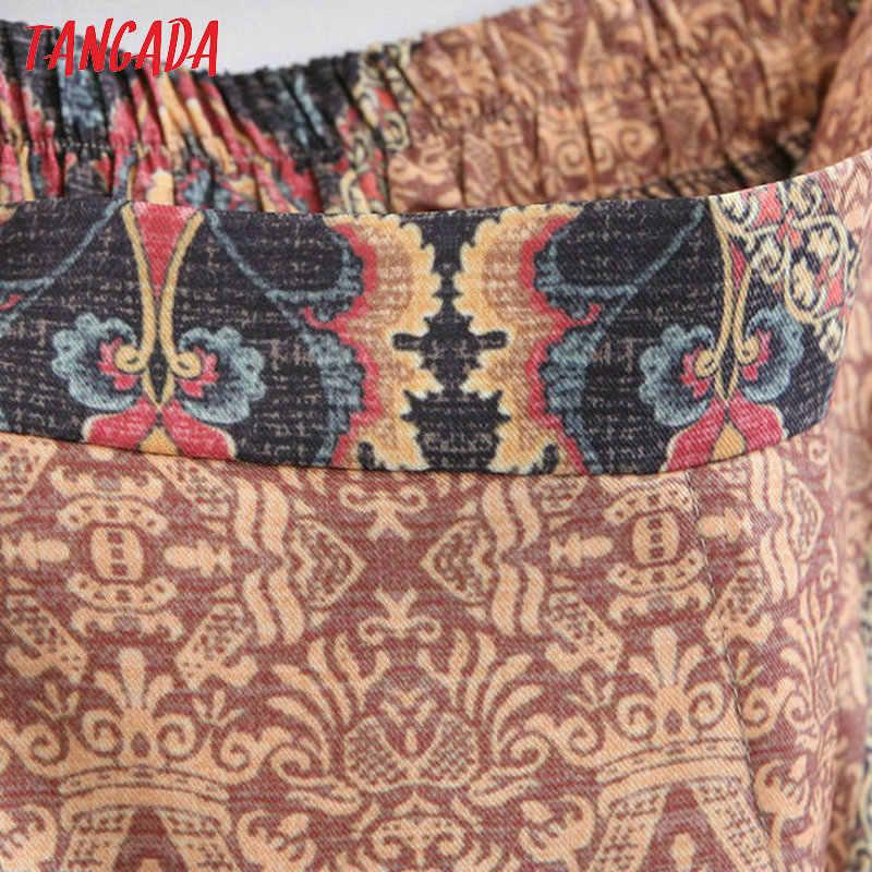 Tangada Женские винтажные штаны с цветочным принтом эластичные модные летние 2019 карманы на талии шифоновые брюки для женщин 3Z59