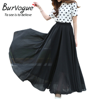 Burvogue New Arrival Women Skirt Summer Skirt Vintage Chiffon Retro Elastic Pleated Long Maxi Tulle Skirts