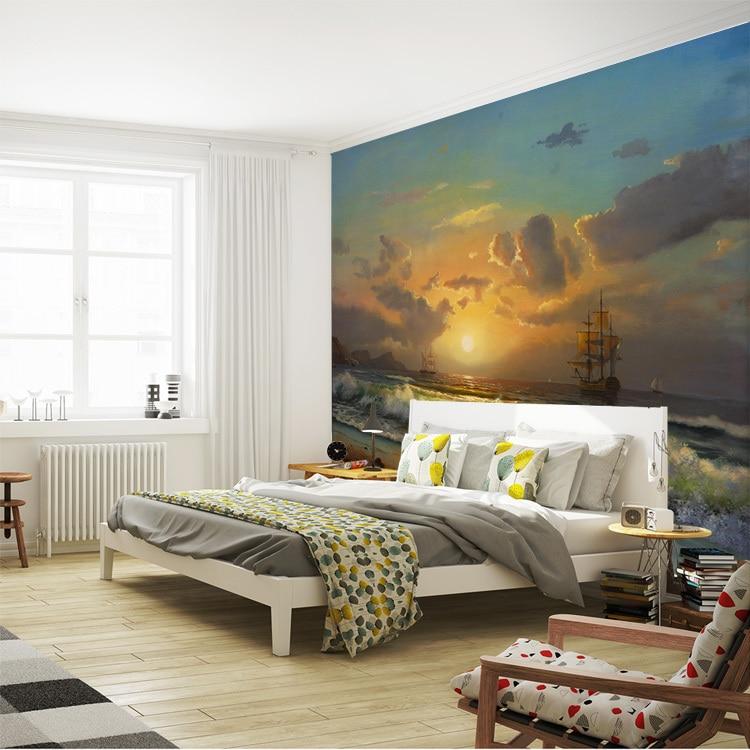US $26.98 |Meer sonnenuntergang Malerei Wandbilder Benutzerdefinierte  fototapete Vintage Tapete Riesen Kunst Room decor Schlafzimmer Kinder  Wohnzimmer ...