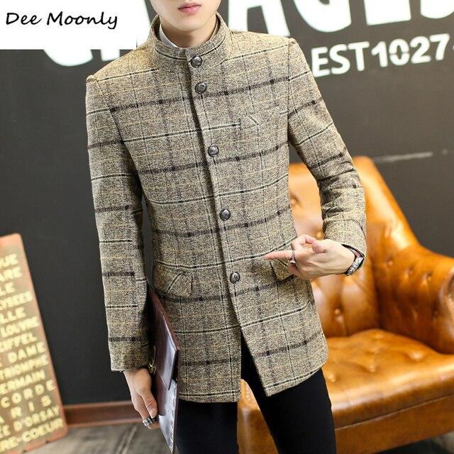 2016 новое прибытие зима однобортный моды случайные траншеи мужчины Англия плед повседневная пальто плед куртка мужчины 2 цвета большой размер