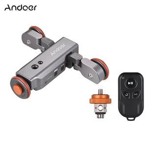 Image 5 - Andoer L4 פרו אלחוטי שלט רחוק מיני סקטים Slider עבור מצלמה ממונע מצלמה וידאו דולי מסלול חשמלי מחוון
