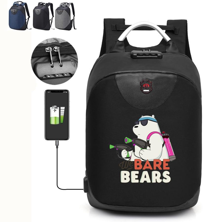 Herrenbekleidung & Zubehör Wir Bare Bears Grizzly Panda Ice Bear Usb Lade Rucksack Wasserdichte Anti-diebstahl Rucksack Lock Reisen Laptop Tasche