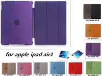 Free Shipping PU Leather Slim Magnetic Front Smart Cover Skin Hard PC Back Case For Apple
