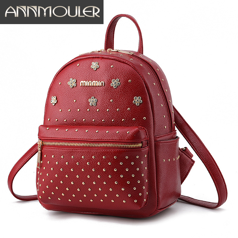 Annmouler Brand Women Shoulder Bags Pu Leather Backpacks for Women 5 Colors Rivet Backpack School Student Book Bag Zipper Bag
