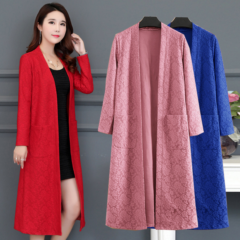 Cardigans Trench-Coat Outerwear Spring Long-Sweater Autumn Femme Women Plus-Size Lace
