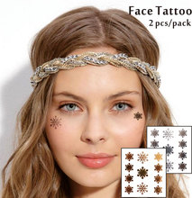 #F03 2 Pcs/ Set Face Decor Tattoos, Non-toxic And Waterproof Snow Flake Foiled Temporary Tattoo,Bonnaroo