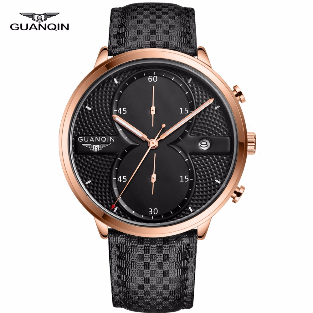GUANQIN Mens Watches Top Brand Luxury Simple Design Ultra Thin Quartz Watch Men Casual Fashion Leather Wristwatch Montre Homme