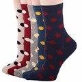 RioRiva 5pairs/Pack US5-9/EU35-40 Women Colorful Short Mid Calf Crew Socks Polka Dot Cotton Socks Multi Colored Ankle Sox Soks