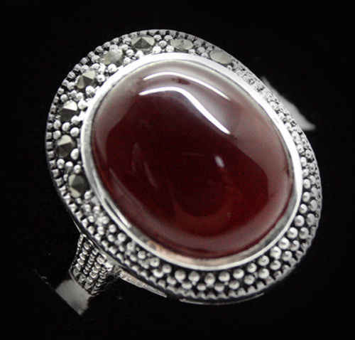 ร้อนขายโนเบิล-จัดส่งฟรี>>>สุภาพสตรีแฟชั่น17*21มิลลิเมตรวินเทจหายาก925สีแดงสีเงินธรรมชาติแมกกาไซด์แหวนขนาด7/8/9/10