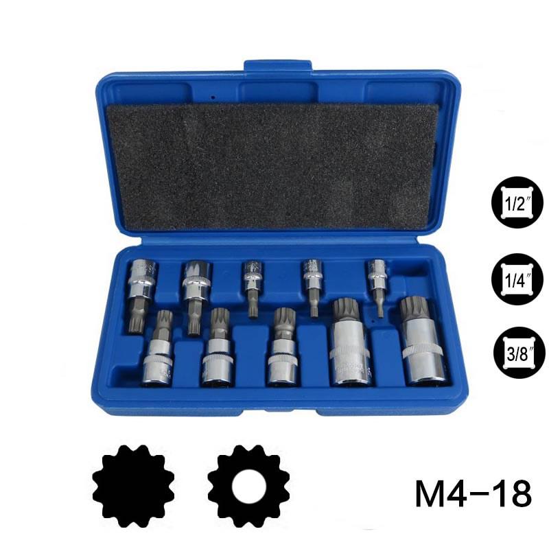 MXITA Screwdriver Allen Head Sleeve  Wrench 10 Pcs Set 12 Point MM Triple Square Spline Bit Socket Set For Tamper-Proof Lug Nuts