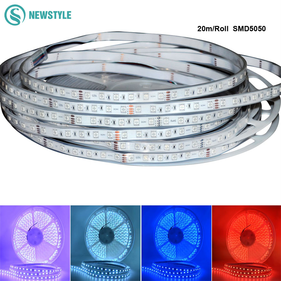 20M/roll  DC24V RGB Led Strip 5050  Waterproof/Non waterproof LED Light  60LED/m White/ Warm white/RGB color Tape 10m 5m 3528 5050 rgb led strip light non waterproof led light 10m flexible rgb diode led tape set remote control power adapter