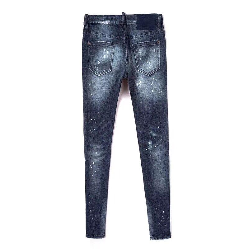 Slim Metà Lavati New Donne Regalo Di Blu Donna Le Fashion Vita Foro 2018 Jeans Stile Autunno Befree Femminile Nuovo Per 6FPvqv