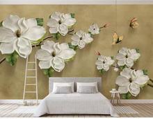 Пользовательские обои росписи 3d Рельефный цветочный фон бабочки