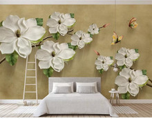 Custom wallpaper mural 3D embossed floral butterfly background wall decorative painting