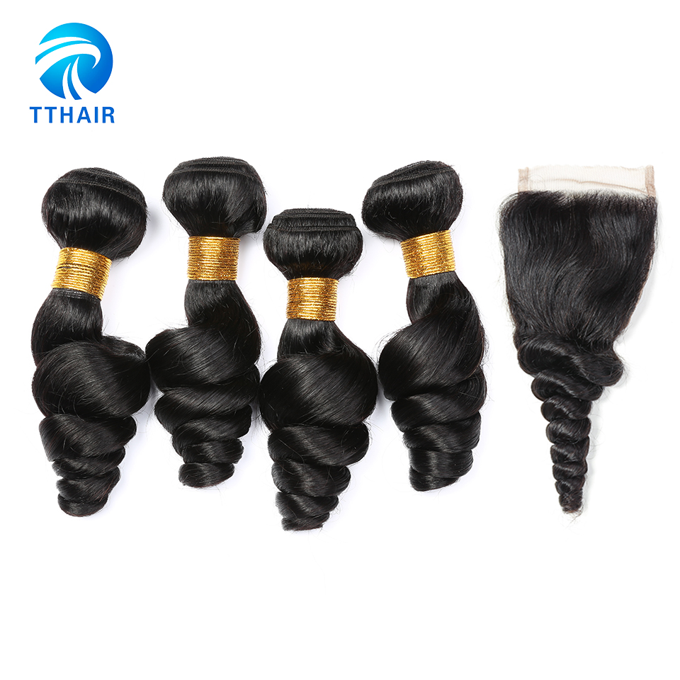 Unprocessed Peruvian Virgin Hair Weave 4 Bundles 100 Human Hair Loose Wave Hair Bundles With Closure