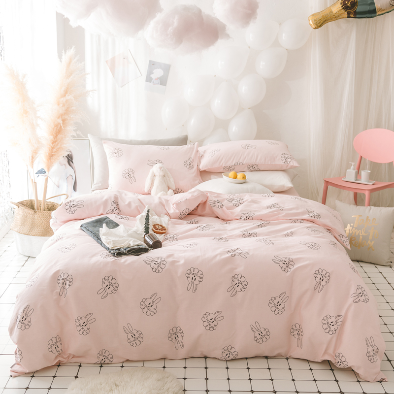 100 Cotton font b Cute b font Rabbit Duvet Cover Set Twin Queen Size Sweet Pink