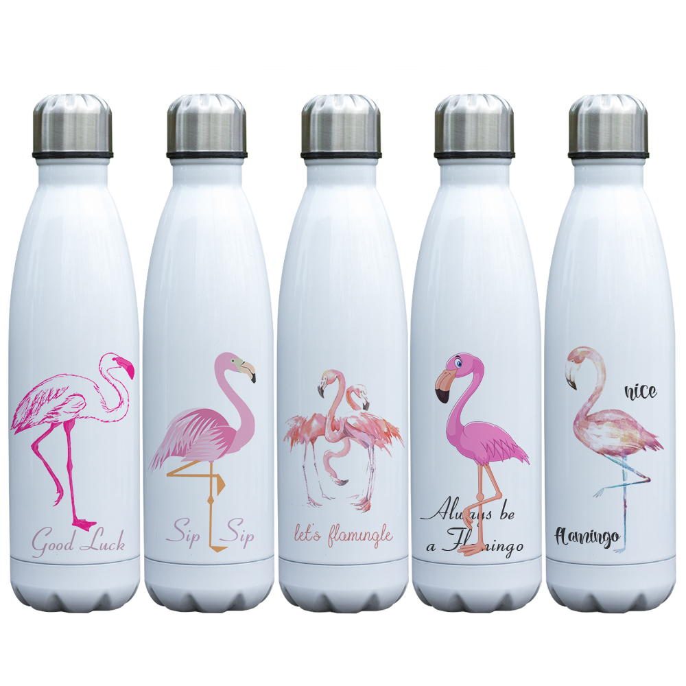 Hot Sale Flamingo Bottle Stainless Steel Double Wall Insulated Vacuum  Bottle for Outdoor Sport Coca Shaped Popular Cup
