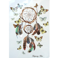Fashion Waterproof Hot Temporary Tattoo Stickers 21 X 15 CM Dreamcatcher With Beautiful Butterfly