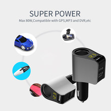 3 Ports USB Charger Car Kit Cigarette Lighter Socket Fast Charge for iPhone 8 X 7 Plus Support for GPS Navigation Truck Camera(China)