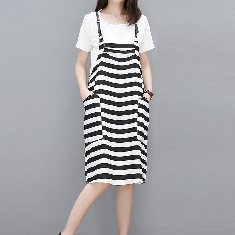 Maternity Clothes Summer Short Sleeve T-Shirt + Striped Sling Dress Two Sets Pregnant Woman Dress Thin Cover Maternity Dresses