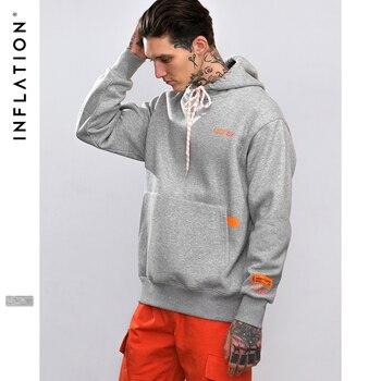 INFLATION Drawstring Gray Hoodies Men