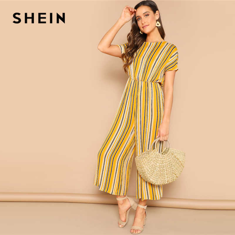 c47418d9ed SHEIN Multicolor Knot Backless Striped Palazzo Wide Leg Long Jumpsuit Women  Mid Waist Short Sleeve Solid