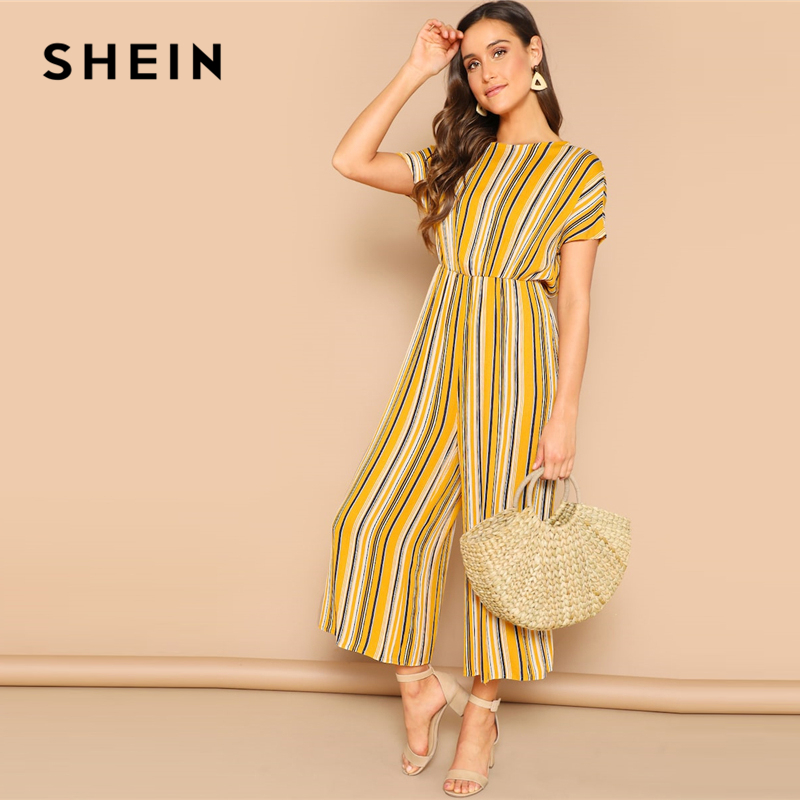 SHEIN Multicolor Knot Backless Striped Palazzo Wide Leg Long   Jumpsuit   Women Mid Waist Short Sleeve Solid Elegant   Jumpsuits