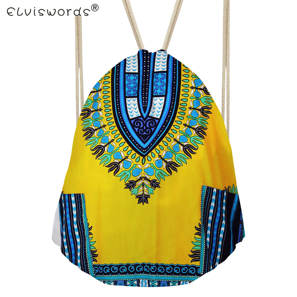 ELVISWORDS African Traditional Small Drawstring Bags Girls Casual Backpack Women s Mochila Sport Cinch Fitness Bags