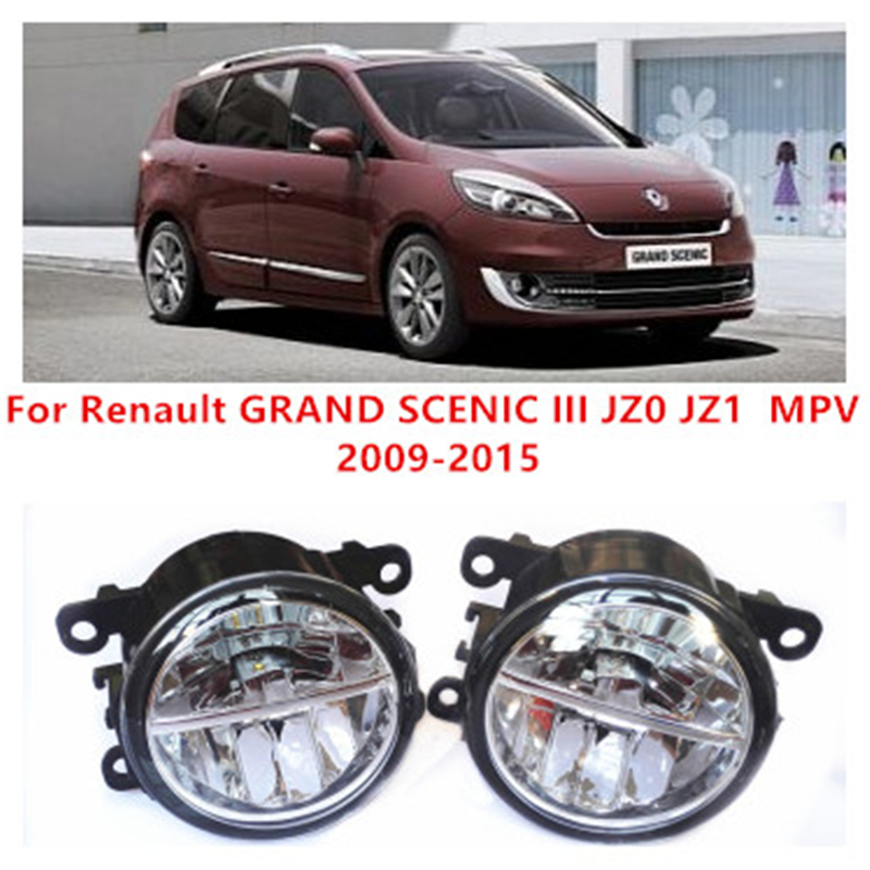 For Renault GRAND SCENIC III JZ0 JZ1  MPV  2009-2015 10W Fog Light LED DRL Daytime Running Lights Car Styling lamps