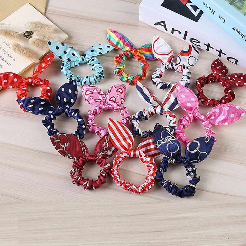 13 Colors Rabbit Ears Hair Band Children Kids Hair Accessories Scrunchies Elastic Hair Band For Women Girl Rubber Band Hair Rope