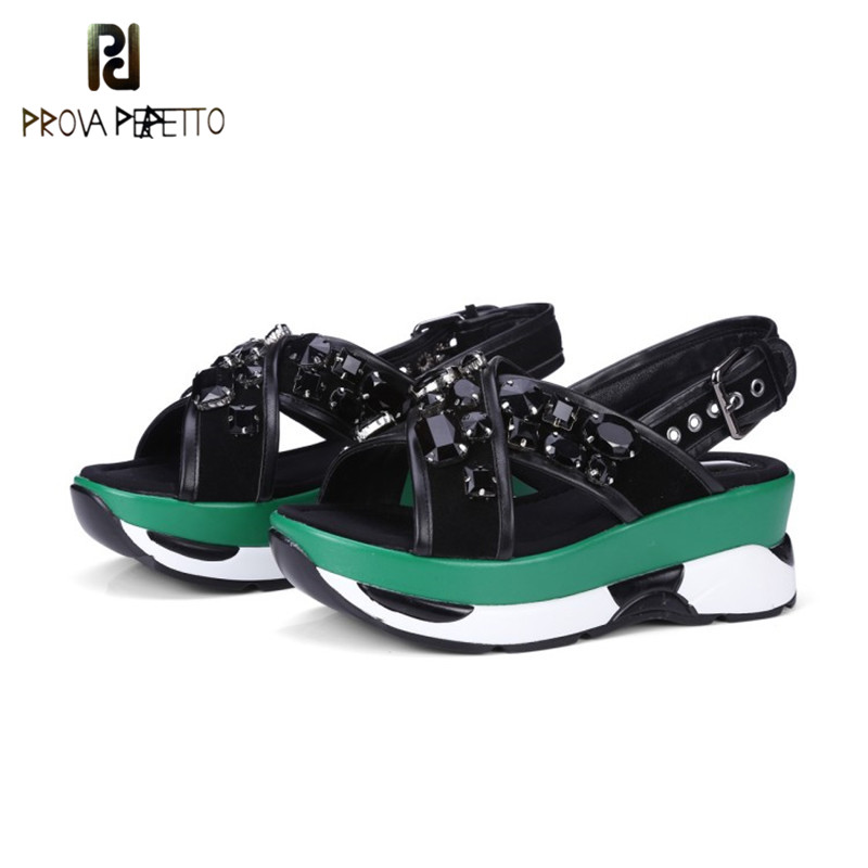 Prova Perfetto Rhinestones Cross Female Wedge Sandals Real Leather Casual Shoes Spell Color High Heel Women