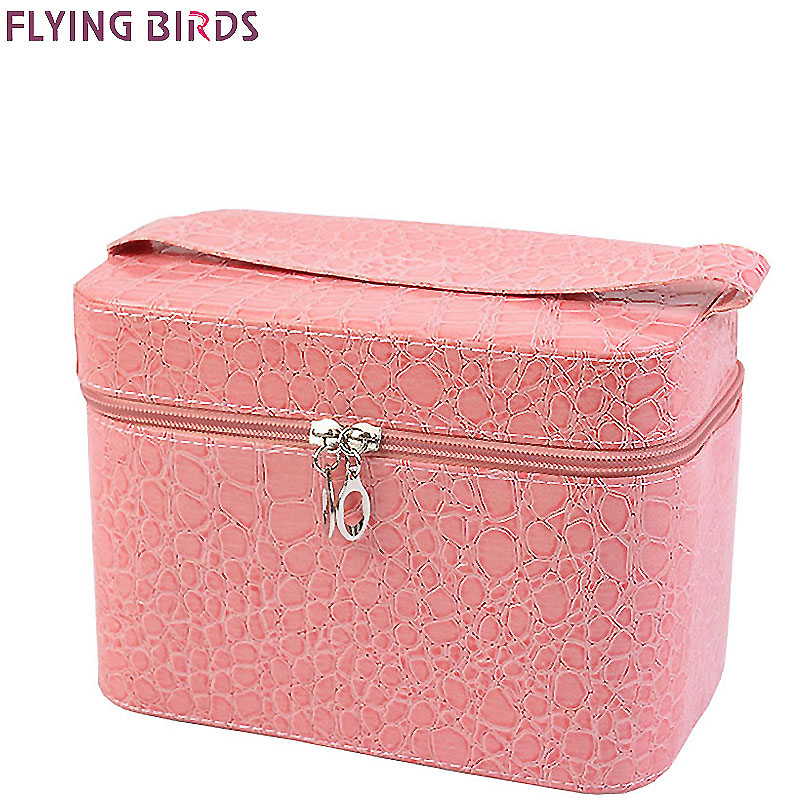 FLYING BIRDS! Capacity Large Crocodile Cosmetic Bags Box Jewelry Display Case Travel purse Wash Makeup Bag Beauty Case LM3602fb 2017 women multi function storage cosmetic bags box jewelry display case travel purse wash makeup bag beauty case