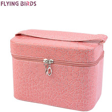 FLYING BIRDS! Capacity Large Crocodile Cosmetic Bags Box Jewelry Display Case Travel purse Wash Makeup Bag Beauty Case LM3602fb
