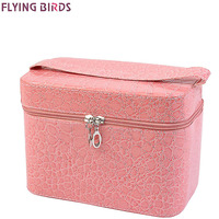 FLYING BIRDS Capacity Large Crocodile Cosmetic Bags Box Jewelry Display Case Travel Purse Wash Makeup Bag