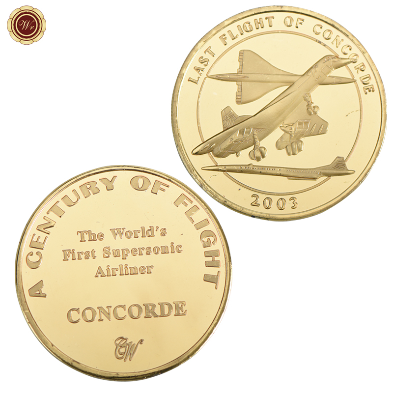 WR Last Flight Of Concorde Commemorative Coin Gold Plated The Worlds First Supersonic Airliner Coins Metal Coin For Home Decor