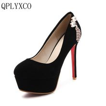 QPLYXCO 2017 New fashion Big Size 30-48 Women Shoes Pumps High Heeled(12cm) Office wedding Patry Shoes Platform round Toe Y-23 2017 new fashion big size brand shoes apricot rivetl thick heel fur women pumps round toe horse hair office lady causal shoes