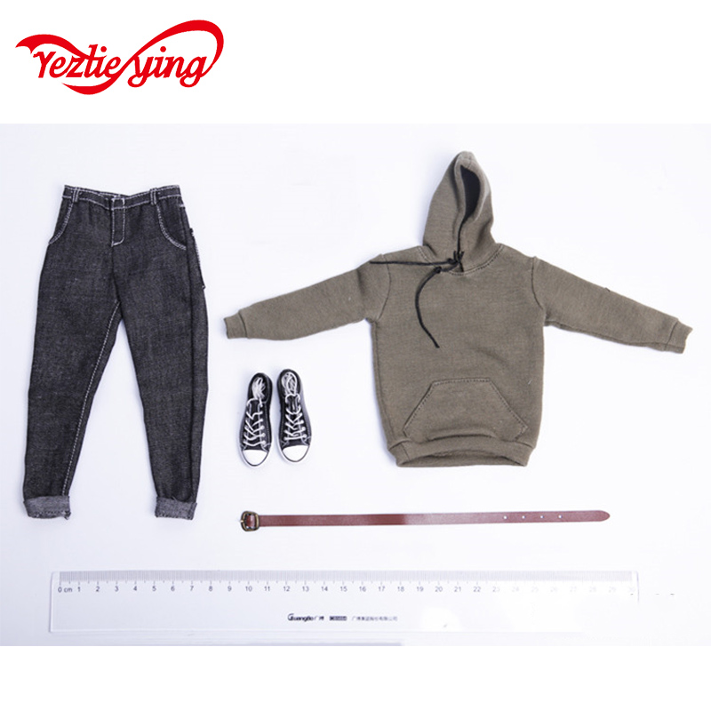 1/6 size men's pullover hooded sweater denim suit soldier costumes male nude model toys image