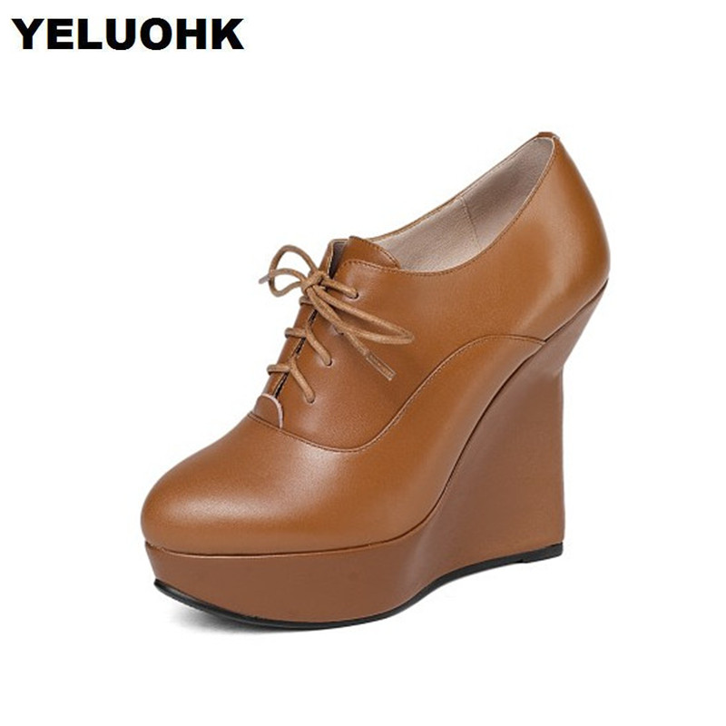 2018 New Genuine Leather Shoes Women High Heels Fashion Platform Shoes Pumps Women Wedge Shoes Lace Up Heels nayiduyun women genuine leather wedge high heel pumps platform creepers round toe slip on casual shoes boots wedge sneakers