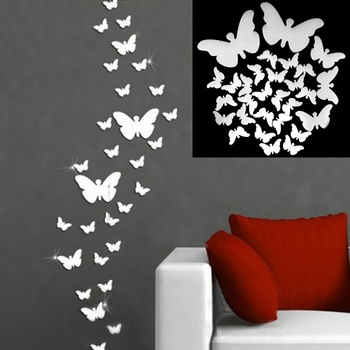 12pcs 3D Mirrors Butterfly Wall Stickers Decal Wall Art Removable Room Party Wedding Decor Home Deco Wall Sticker for Kids Room 1