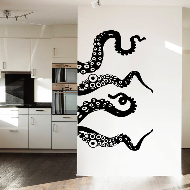 MCTUM Brand Wall Decal Vinyl Art Design Murals Octopus Tentacles Fish Deep  Sea Ocean Animals Fashion