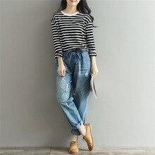 3XL рваные джинсы для женщин мешковатые джинсы для женщин с эластичной талией размера плюс шаровары брюки Pantalones Mujer Jean Femme Новинка