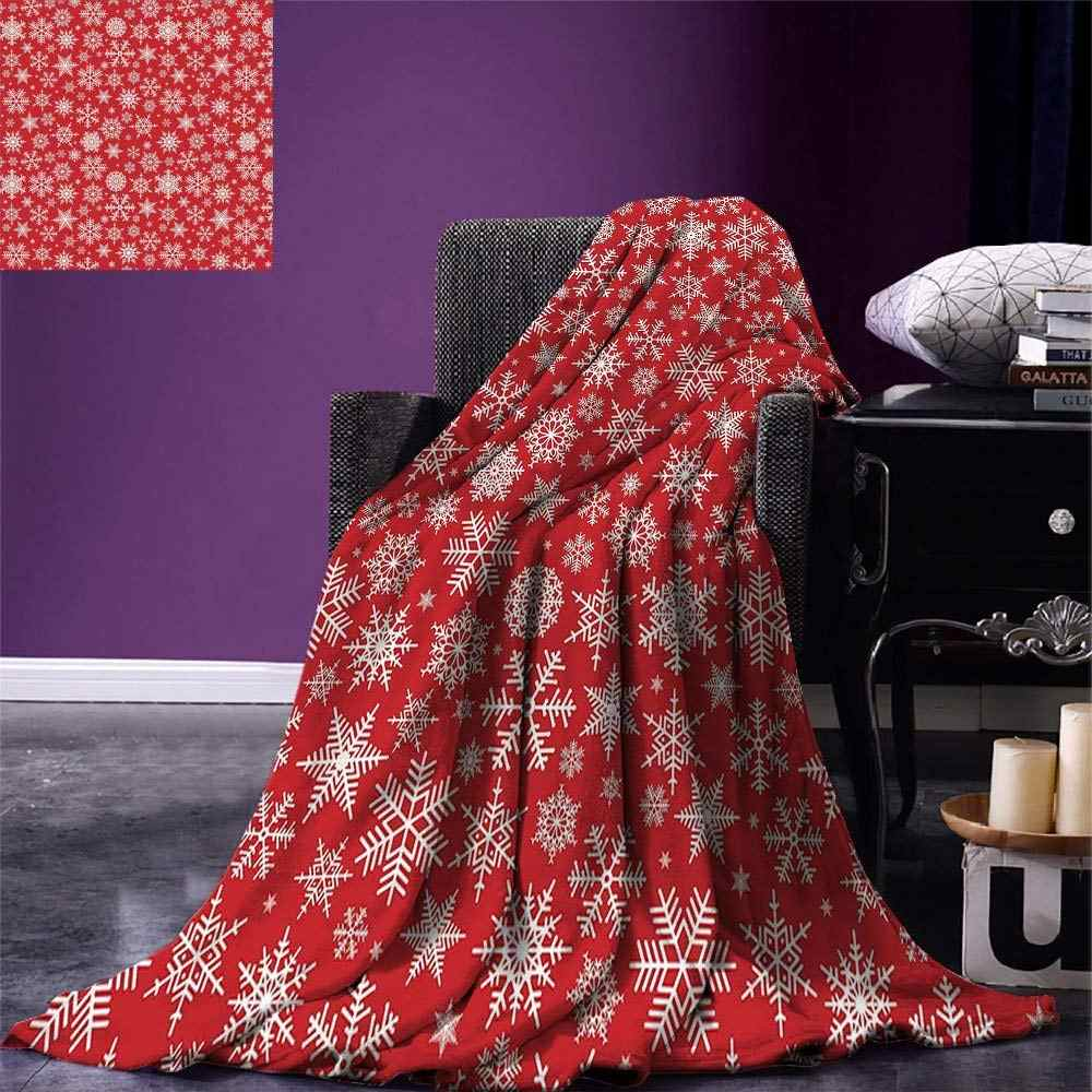 Red Throw Blanket Various Different Snowflakes with Rich Details Festive Christmas Season in Wintertime Warm Microfiber