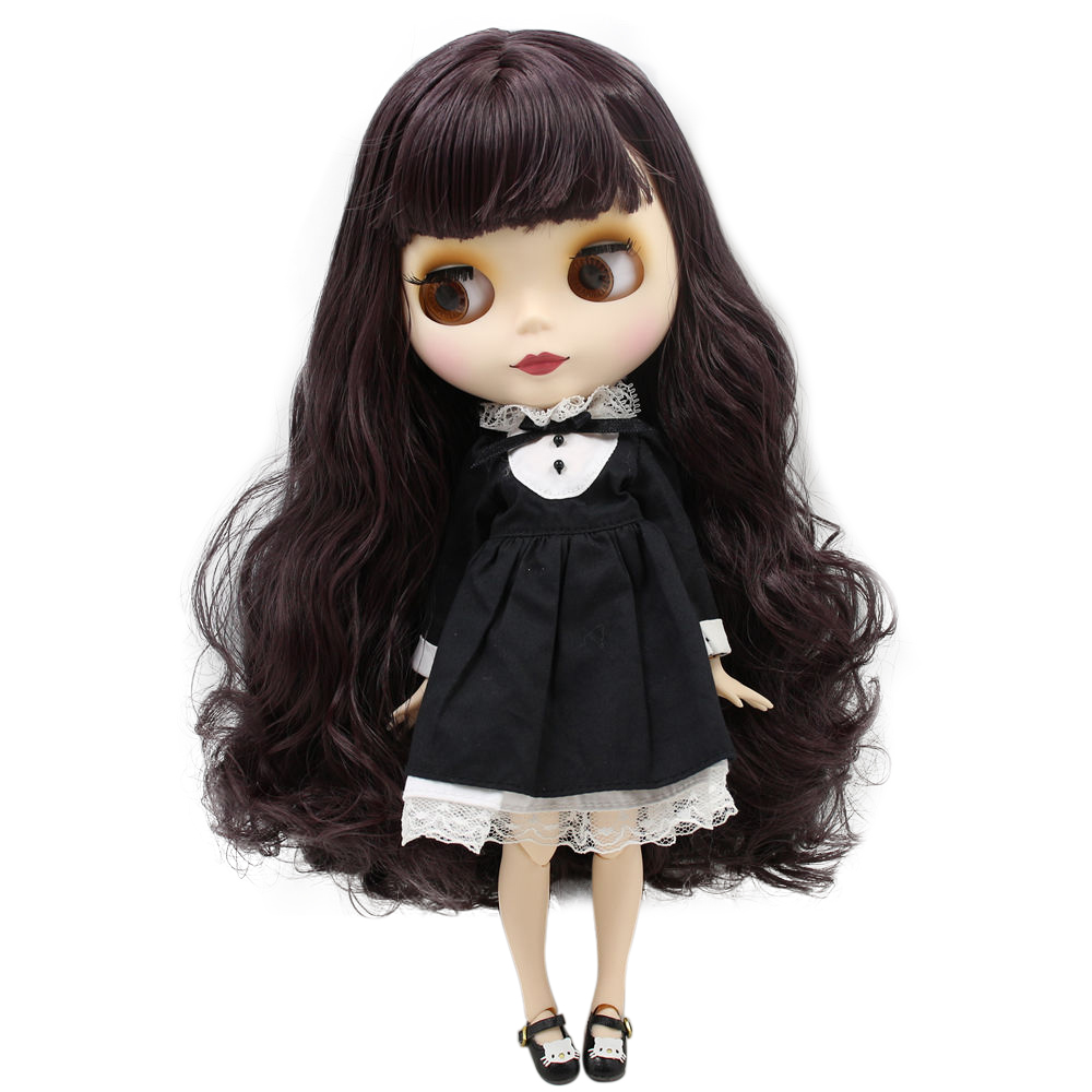 """12/"""" Neo Blythe Doll From Factory Jointed Body Purple Hair Matte Face Make-up"""